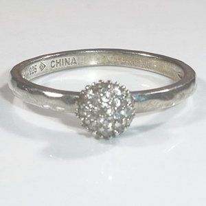 Silpada Pave CZ Sterling Disco Ball Ring Size 9
